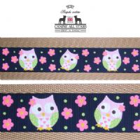 MARTINGALE DOG COLLAR - CUTE NIGHT OWLS ON NAVY